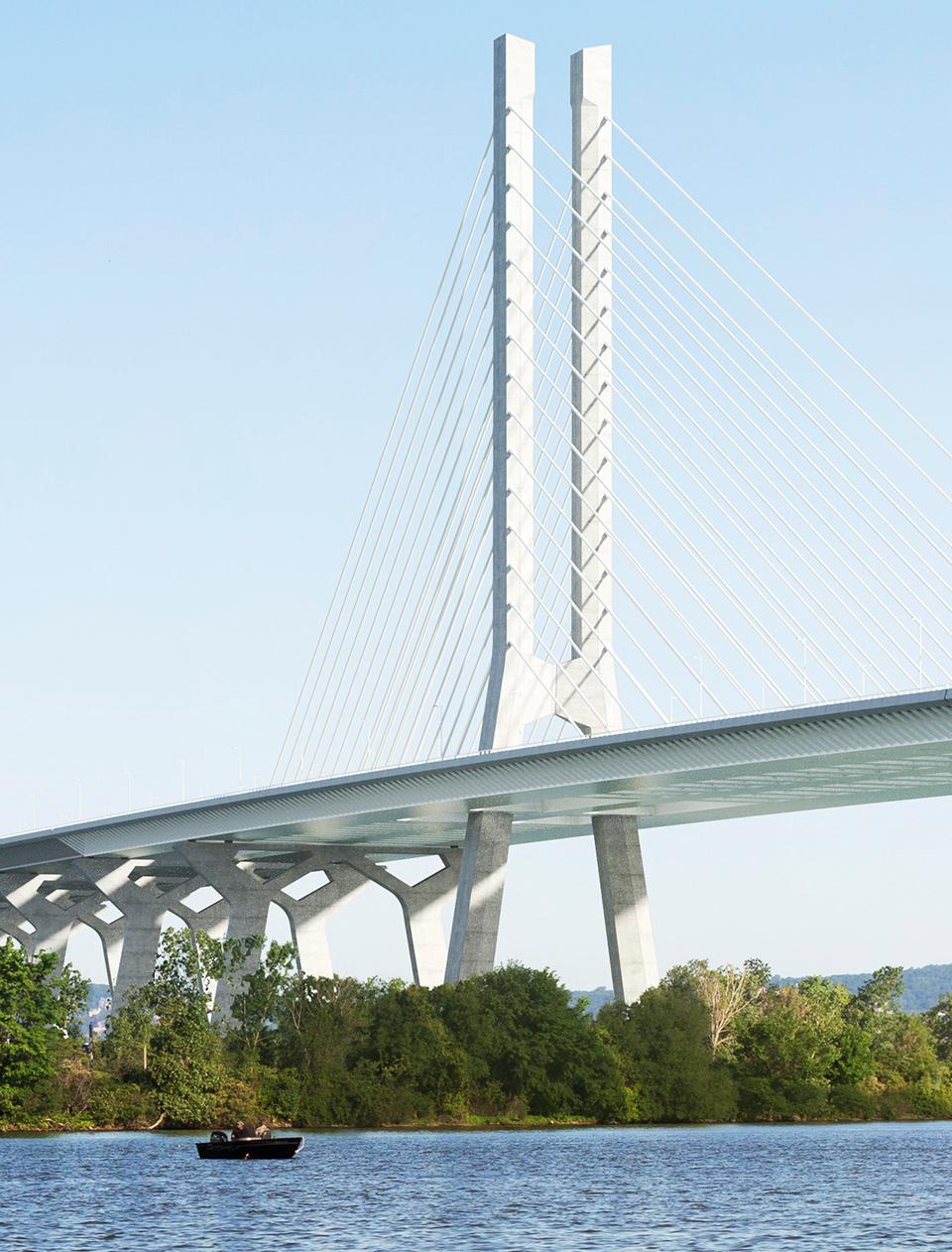 La structure du nouveau pont Champlain vue depuis le fleuve Saint-Laurent