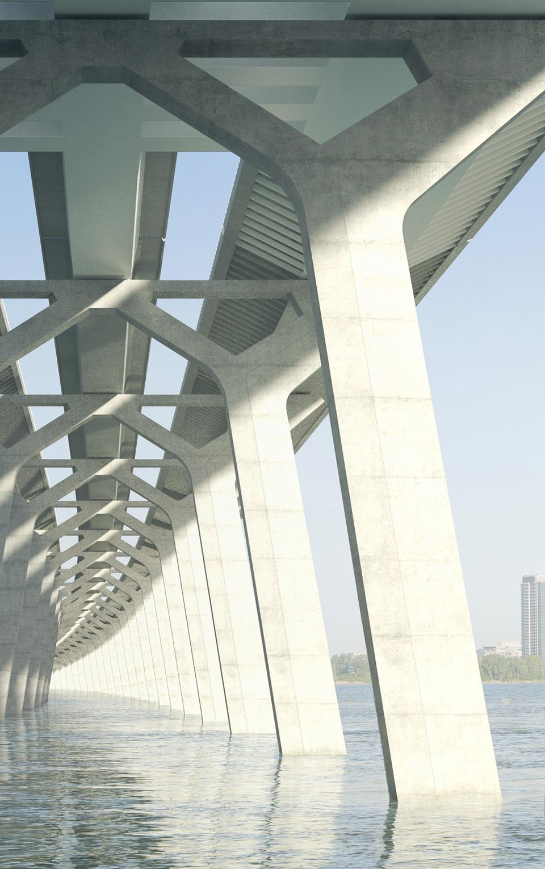 Le coeur de la structure du nouveau pont Champlain